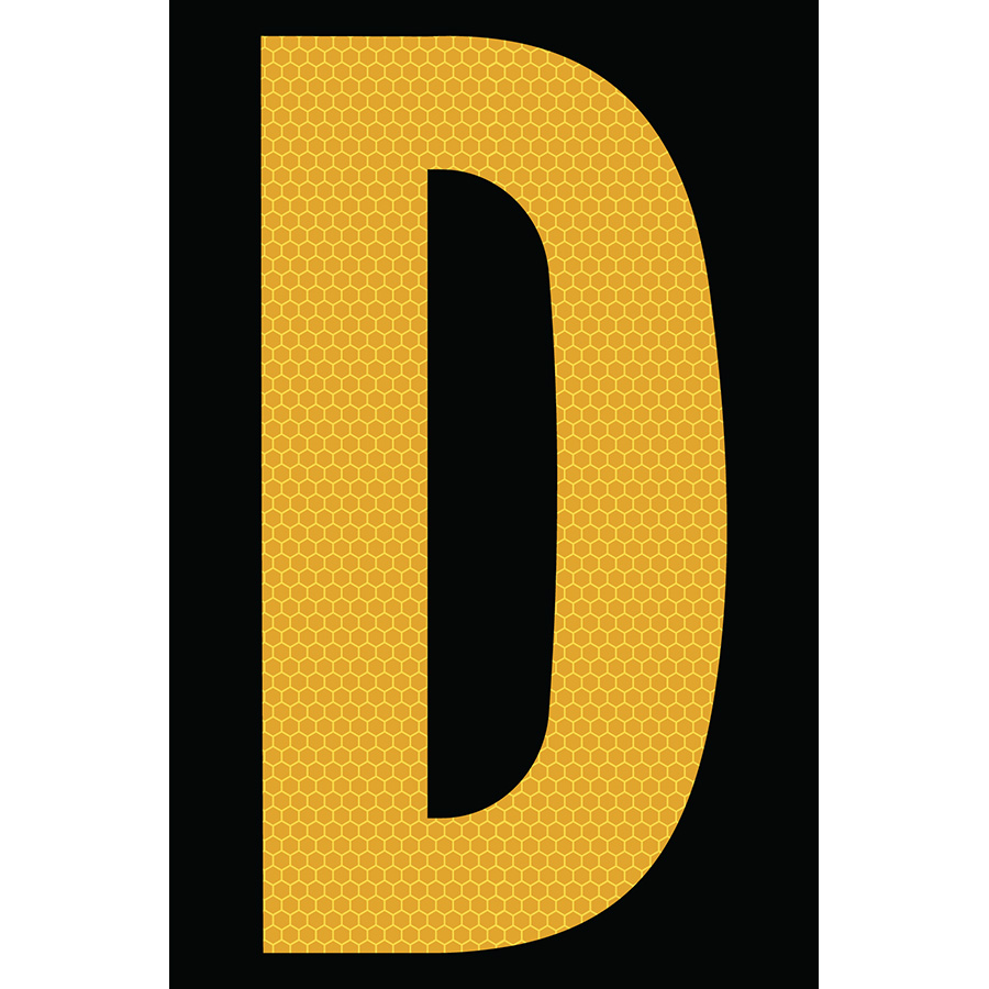 "4"" Yellow on Black SunBright® Reflective ""D"""