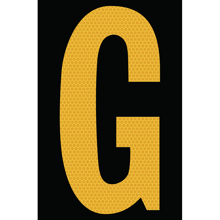 "4"" Yellow on Black SunBright® Reflective ""G"""