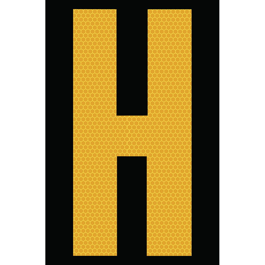 "4"" Yellow on Black SunBright® Reflective ""H"""