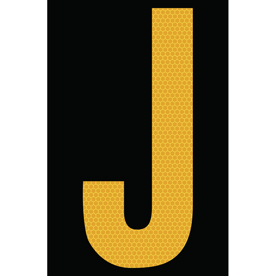 "4"" Yellow on Black SunBright® Reflective ""J"""