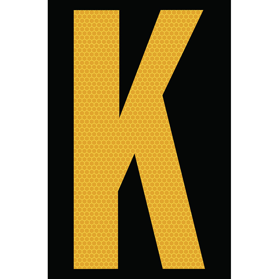 "4"" Yellow on Black SunBright® Reflective ""K"""