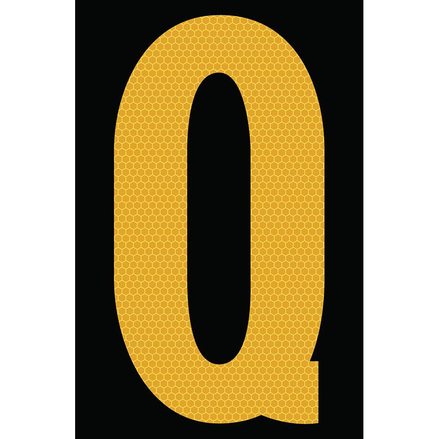 "4"" Yellow on Black SunBright® Reflective ""Q"""