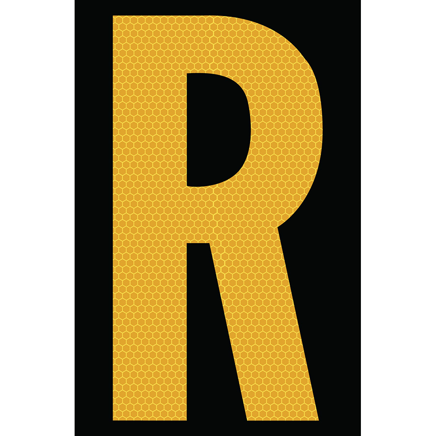 "4"" Yellow on Black SunBright® Reflective ""R"""