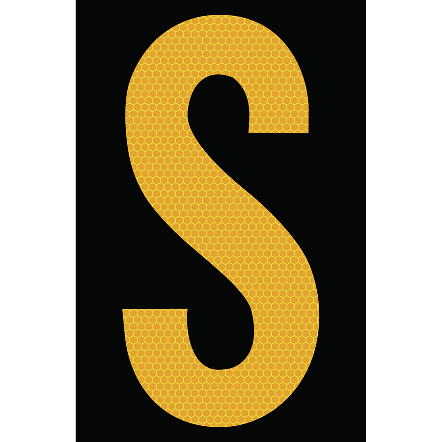 "4"" Yellow on Black SunBright® Reflective ""S"""