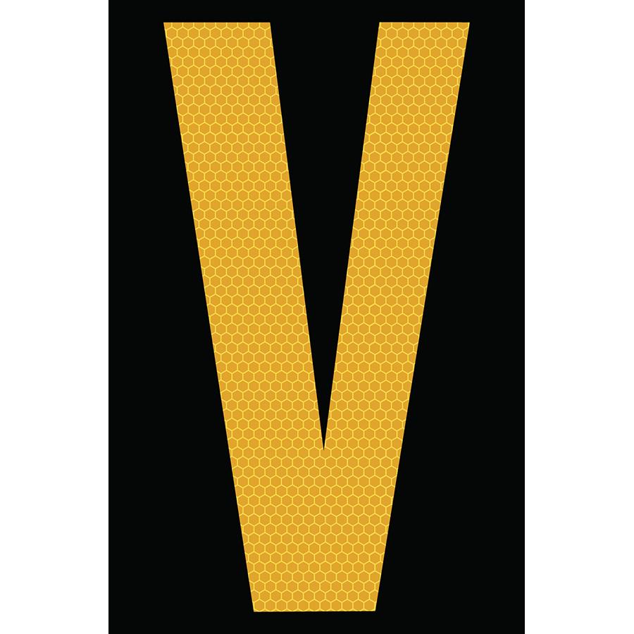 "4"" Yellow on Black SunBright® Reflective ""V"""
