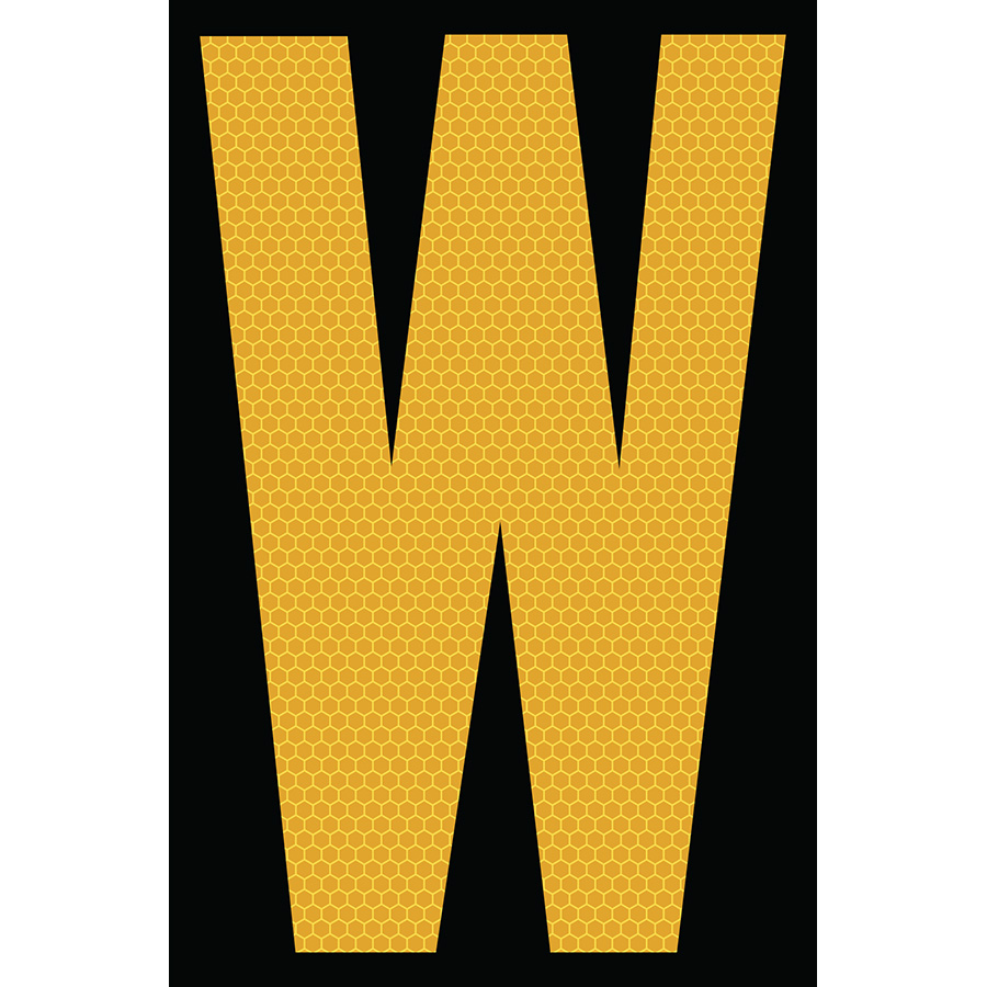 "4"" Yellow on Black SunBright® Reflective ""W"""