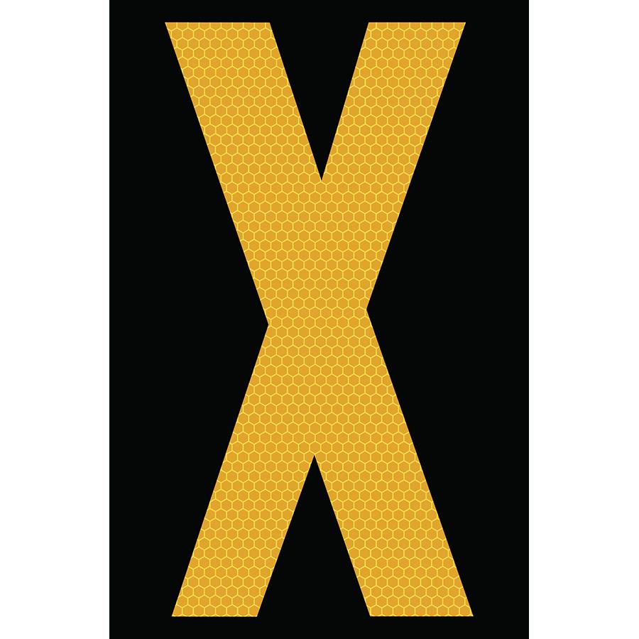 "4"" Yellow on Black SunBright® Reflective ""X"""