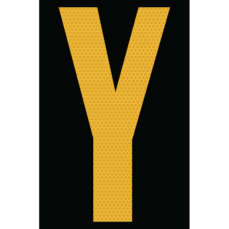 "4"" Yellow on Black SunBright® Reflective ""Y"""