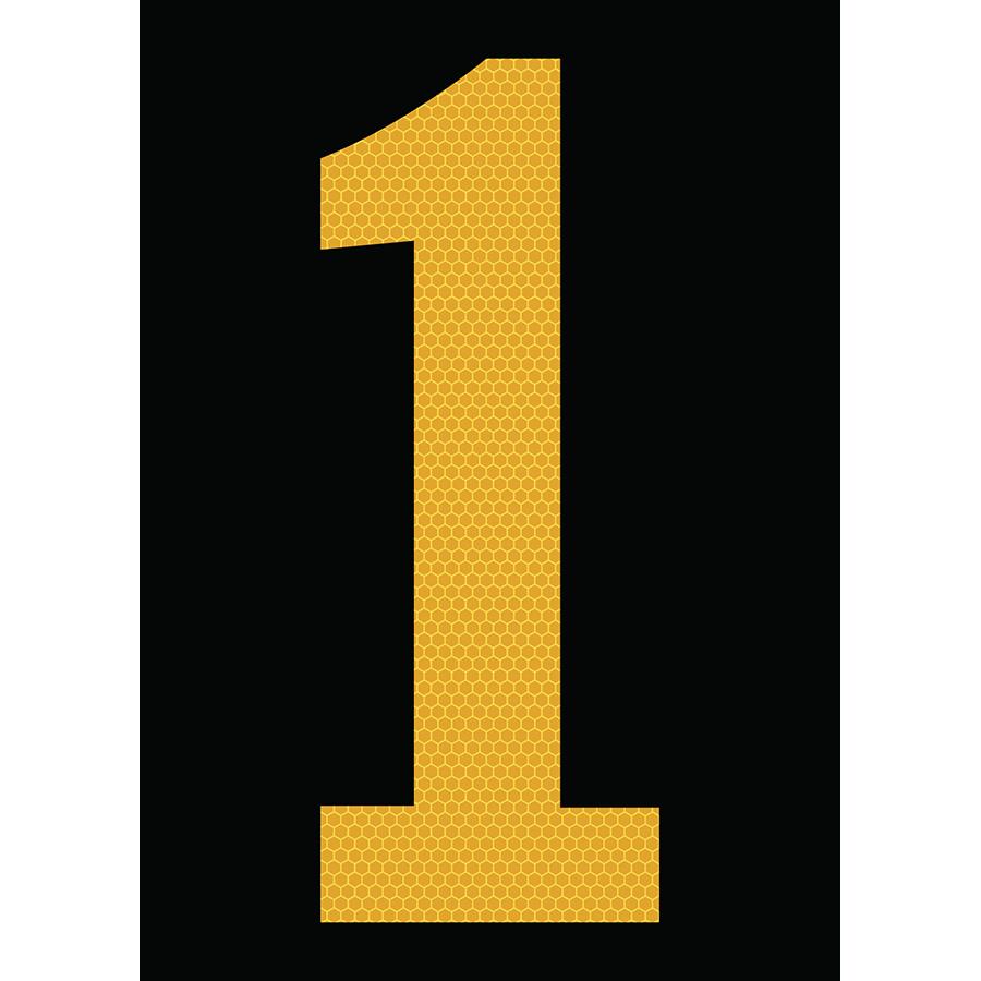 "6"" Yellow on Black SunBright® Reflective ""1"""