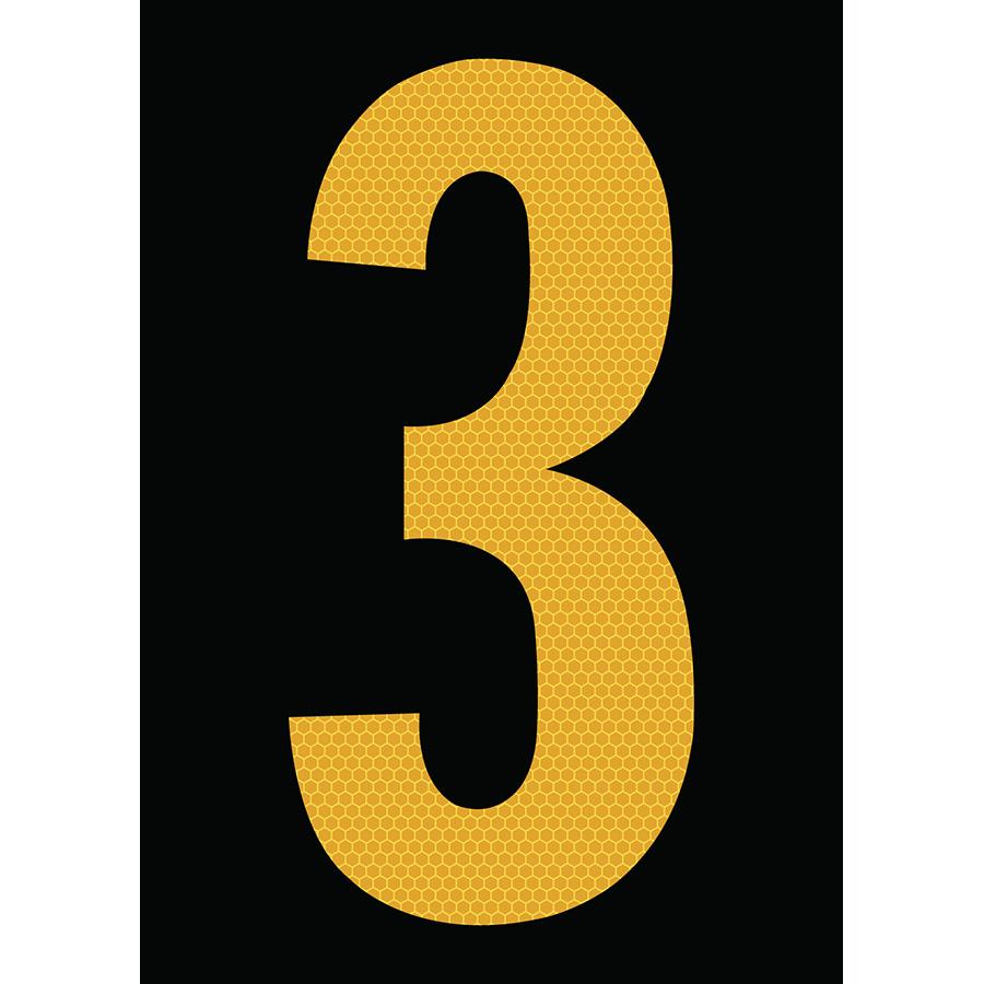 "6"" Yellow on Black SunBright® Reflective ""3"""