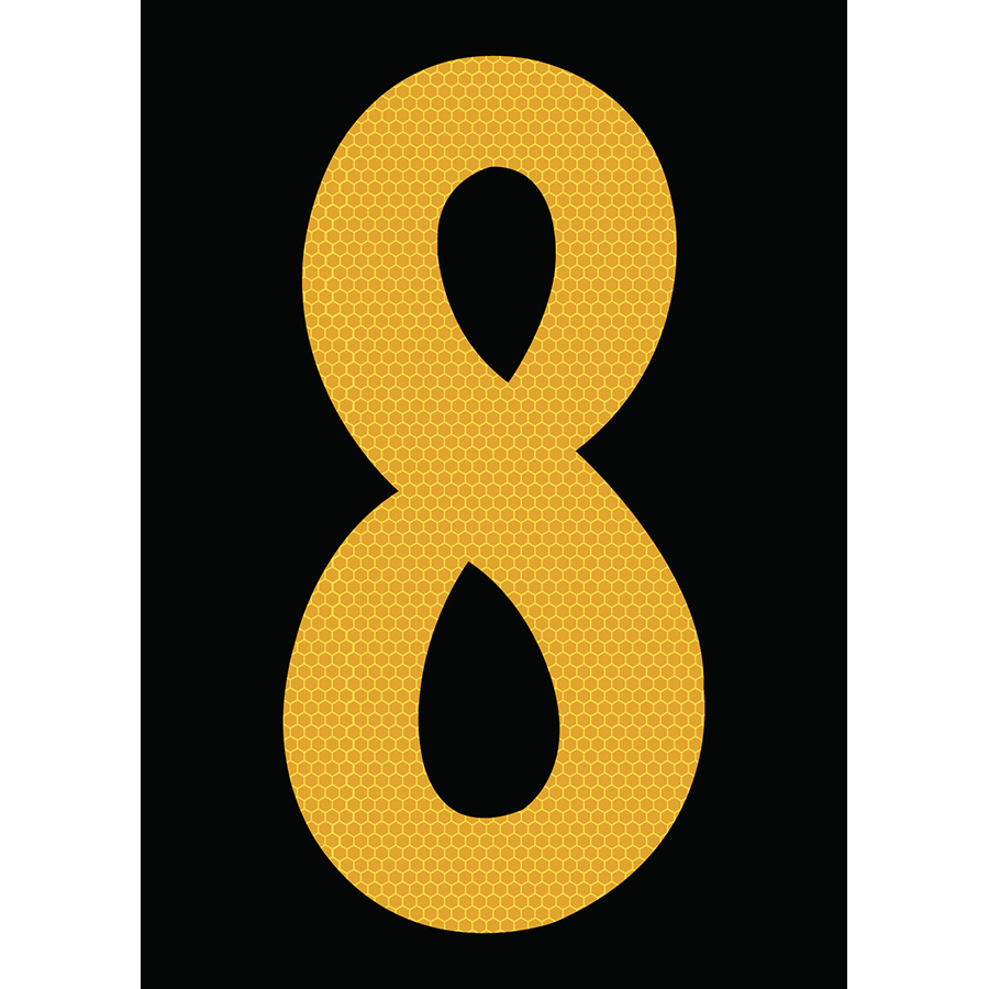 "6"" Yellow on Black SunBright® Reflective ""8"""