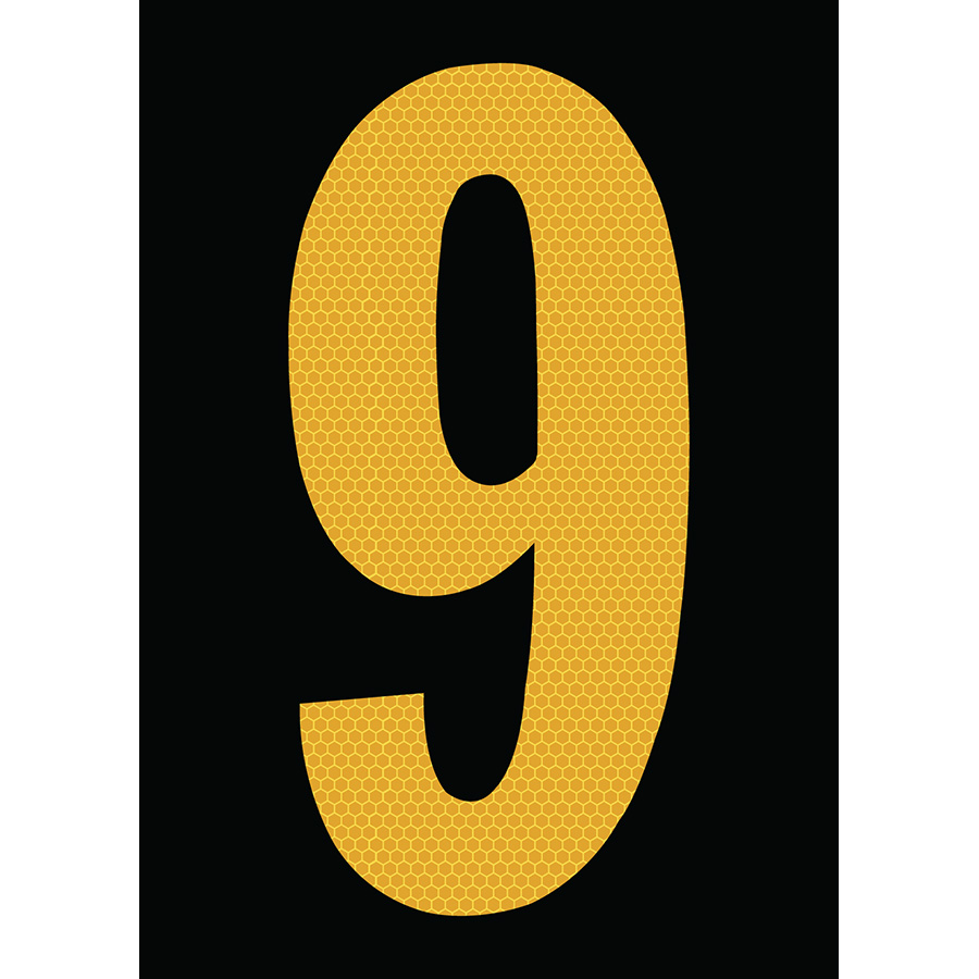 "6"" Yellow on Black SunBright® Reflective ""9"""