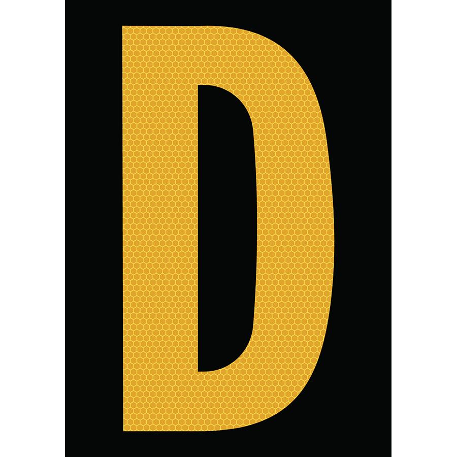 "6"" Yellow on Black SunBright® Reflective ""D"""