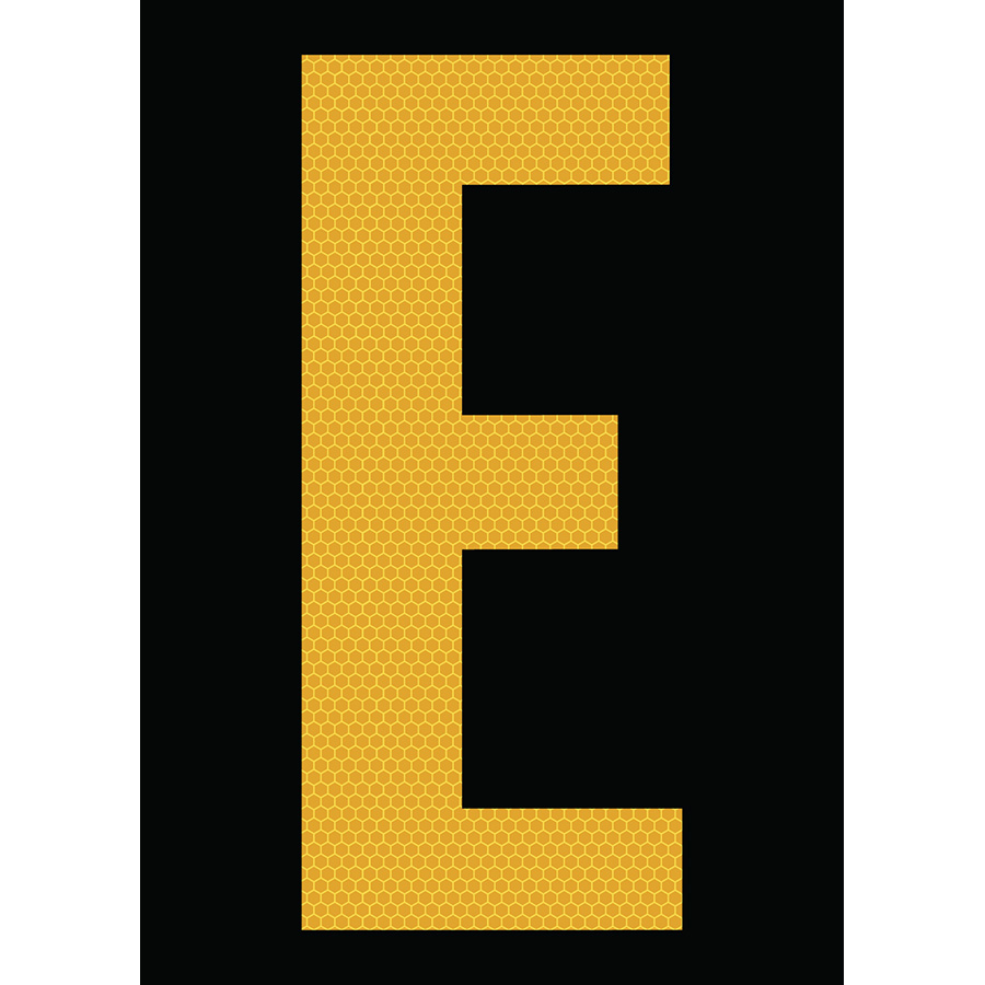 "6"" Yellow on Black SunBright® Reflective ""E"""
