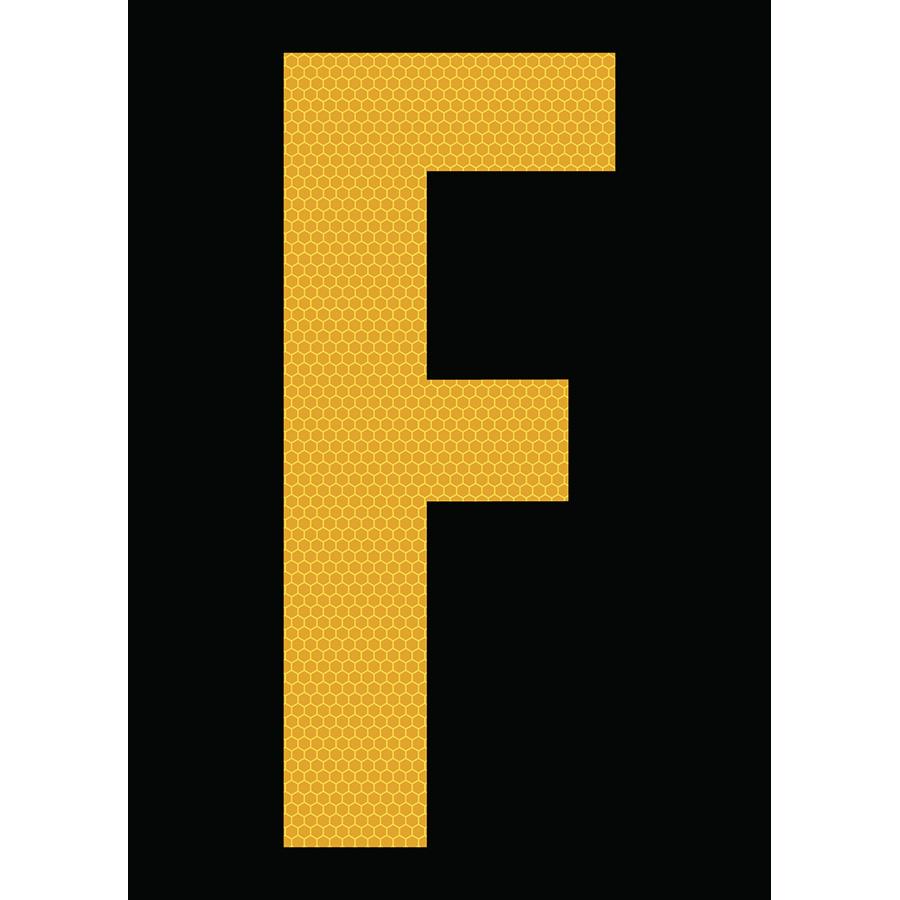 "6"" Yellow on Black SunBright® Reflective ""F"""