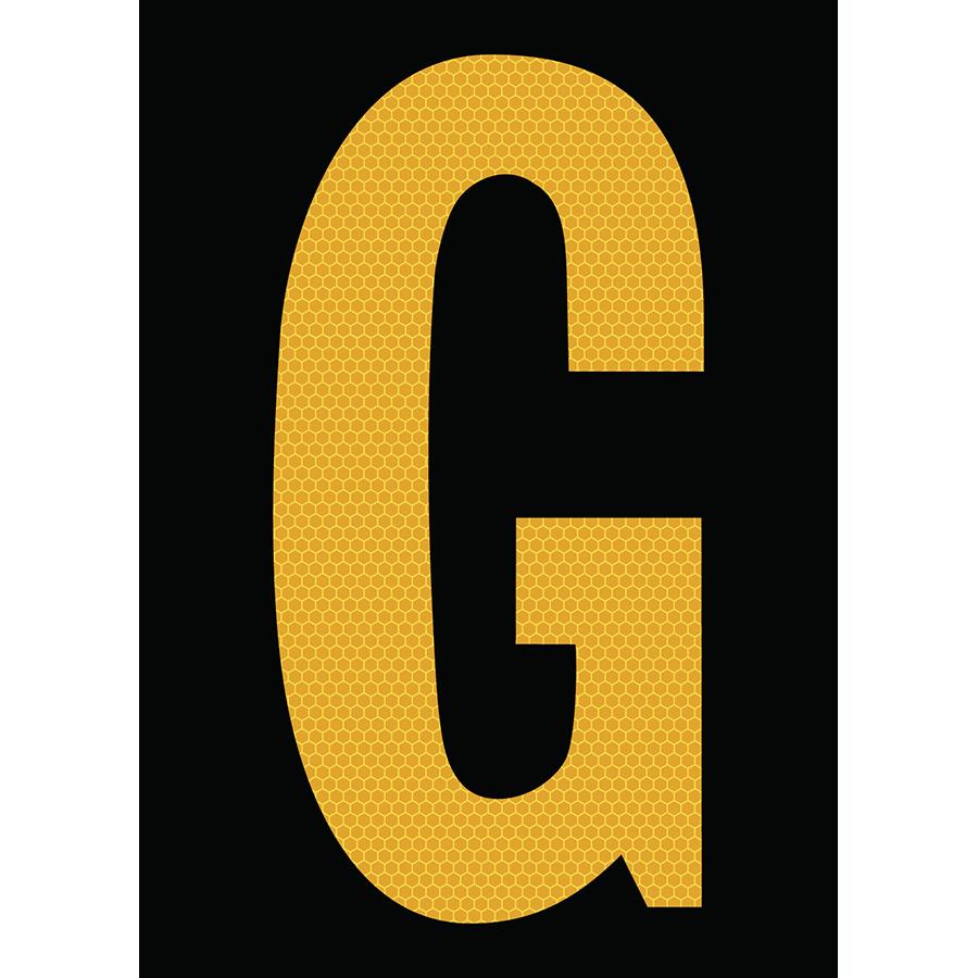 "6"" Yellow on Black SunBright® Reflective ""G"""