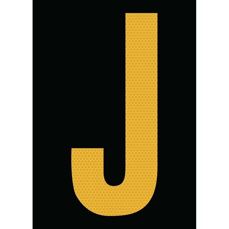"6"" Yellow on Black SunBright® Reflective ""J"""