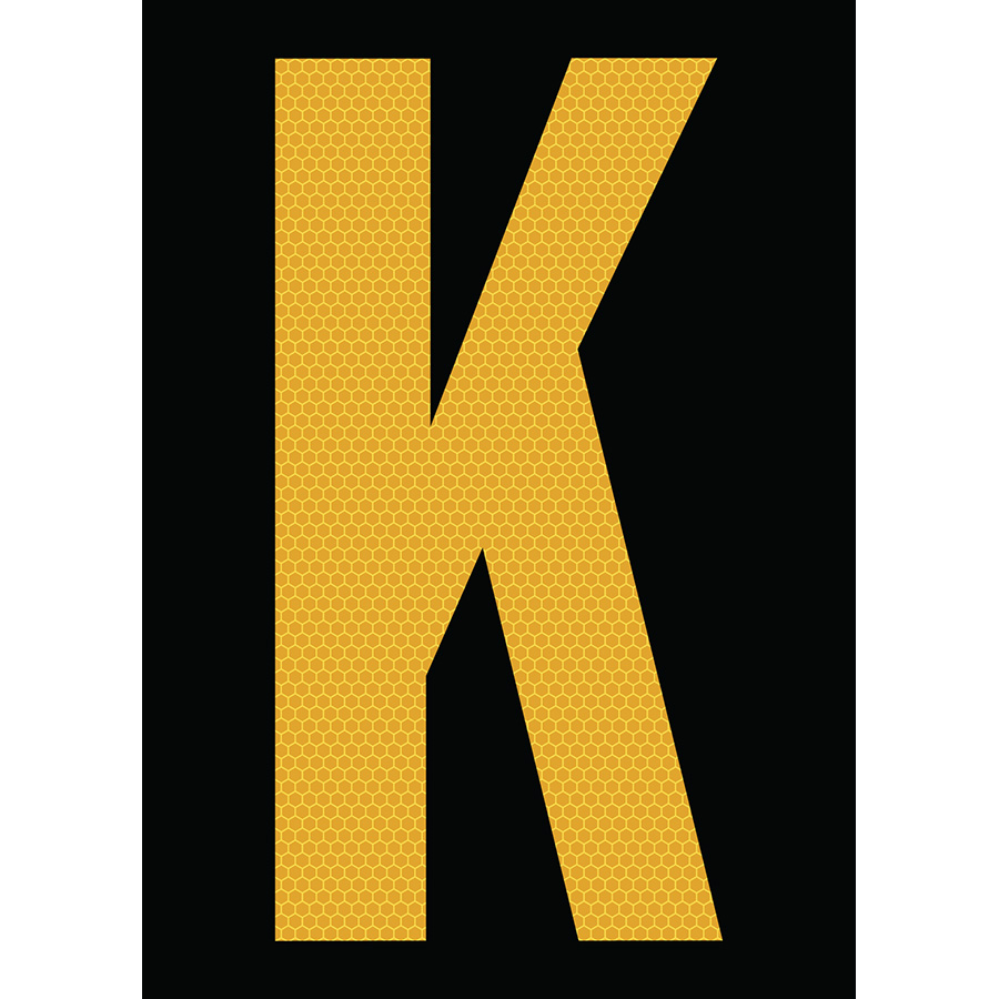 "6"" Yellow on Black SunBright® Reflective ""K"""