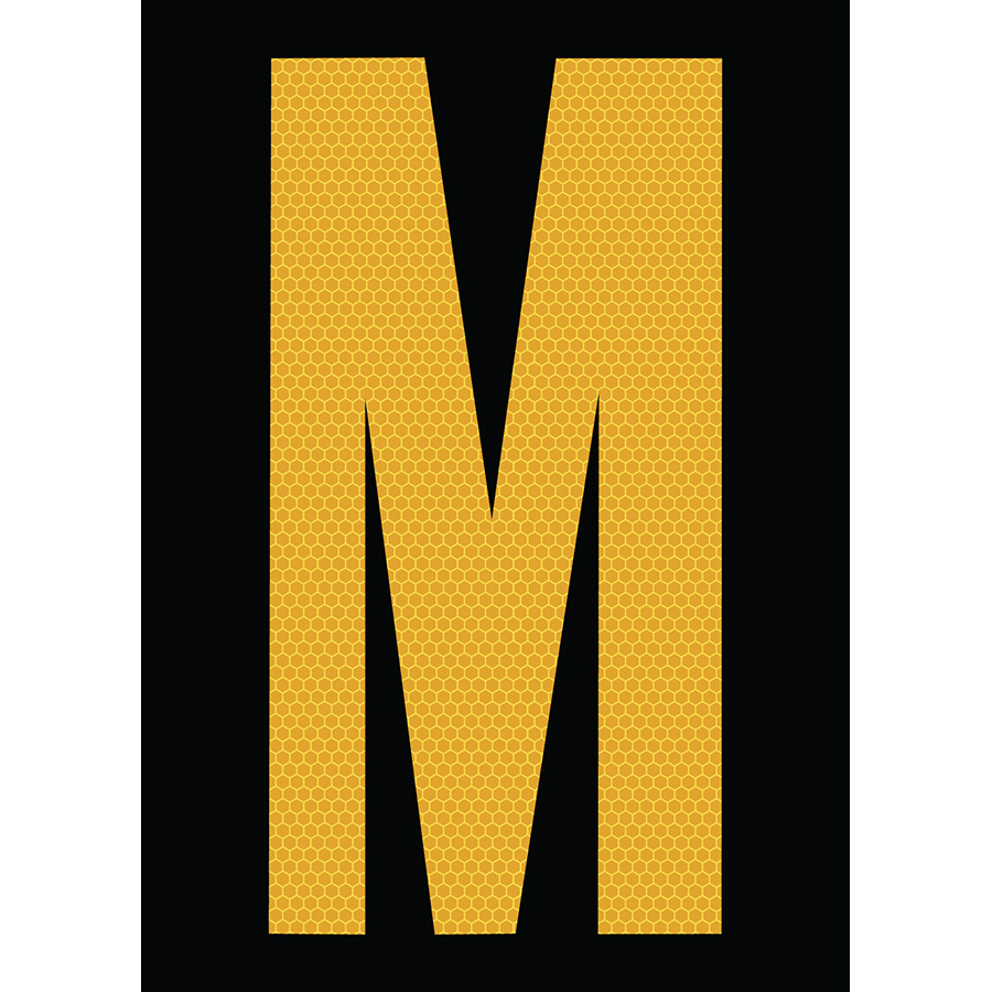 "6"" Yellow on Black SunBright® Reflective ""M"""