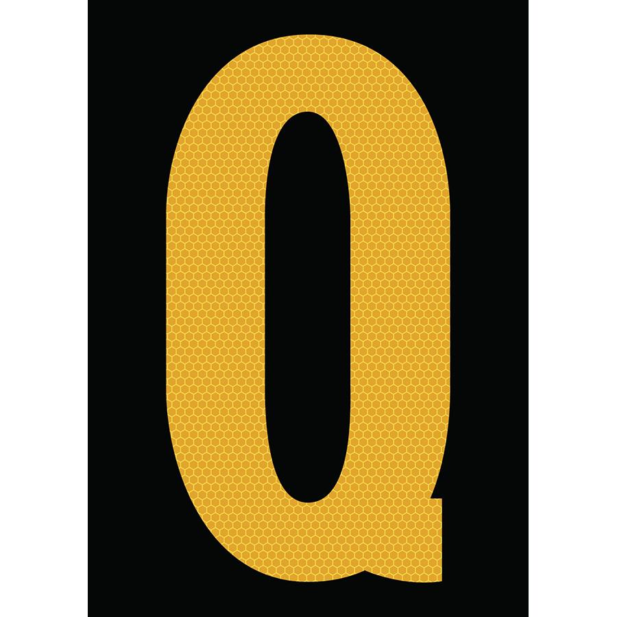 "6"" Yellow on Black SunBright® Reflective ""Q"""