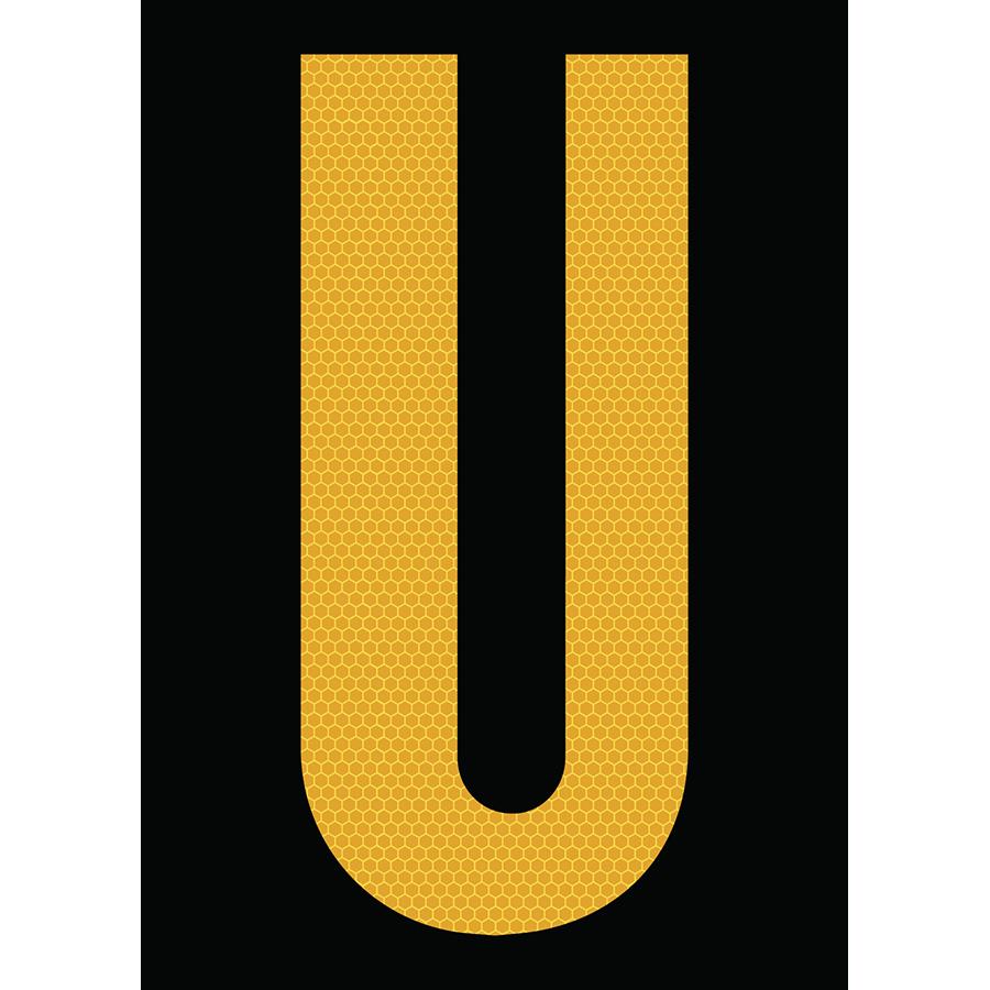 "6"" Yellow on Black SunBright® Reflective ""U"""