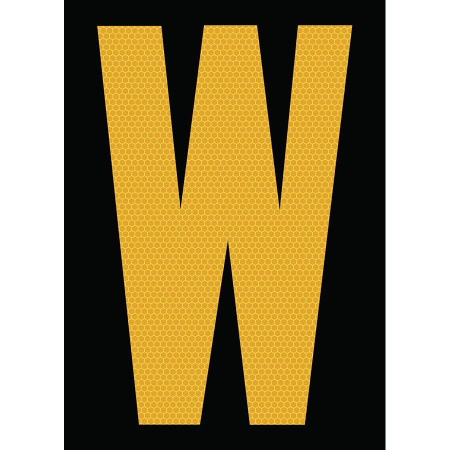 "6"" Yellow on Black SunBright® Reflective ""W"""