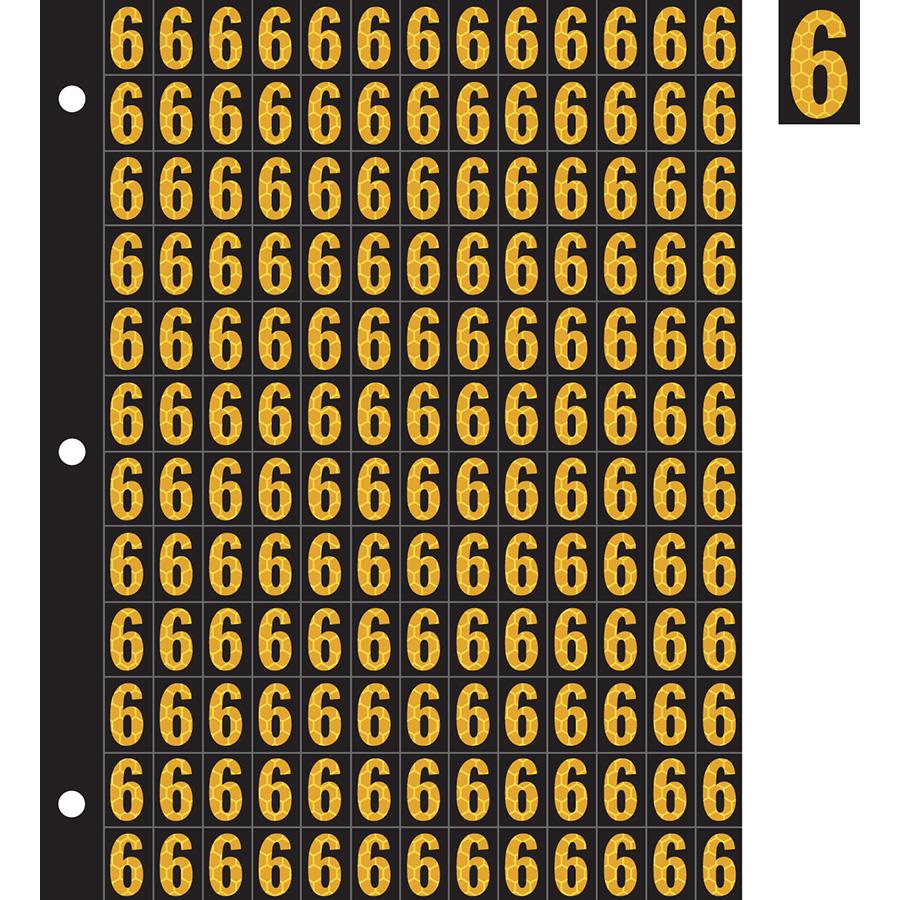 "0.78"" Yellow on Black SunBright® Reflective ""6"""