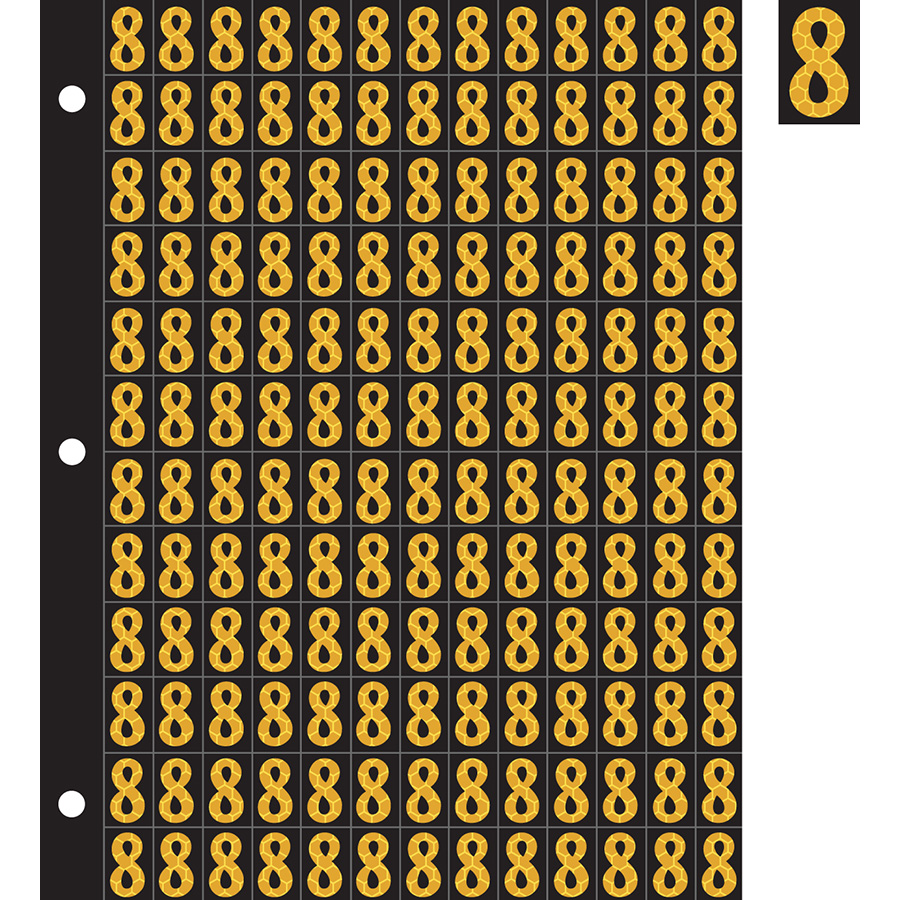 "0.78"" Yellow on Black SunBright® Reflective ""8"""