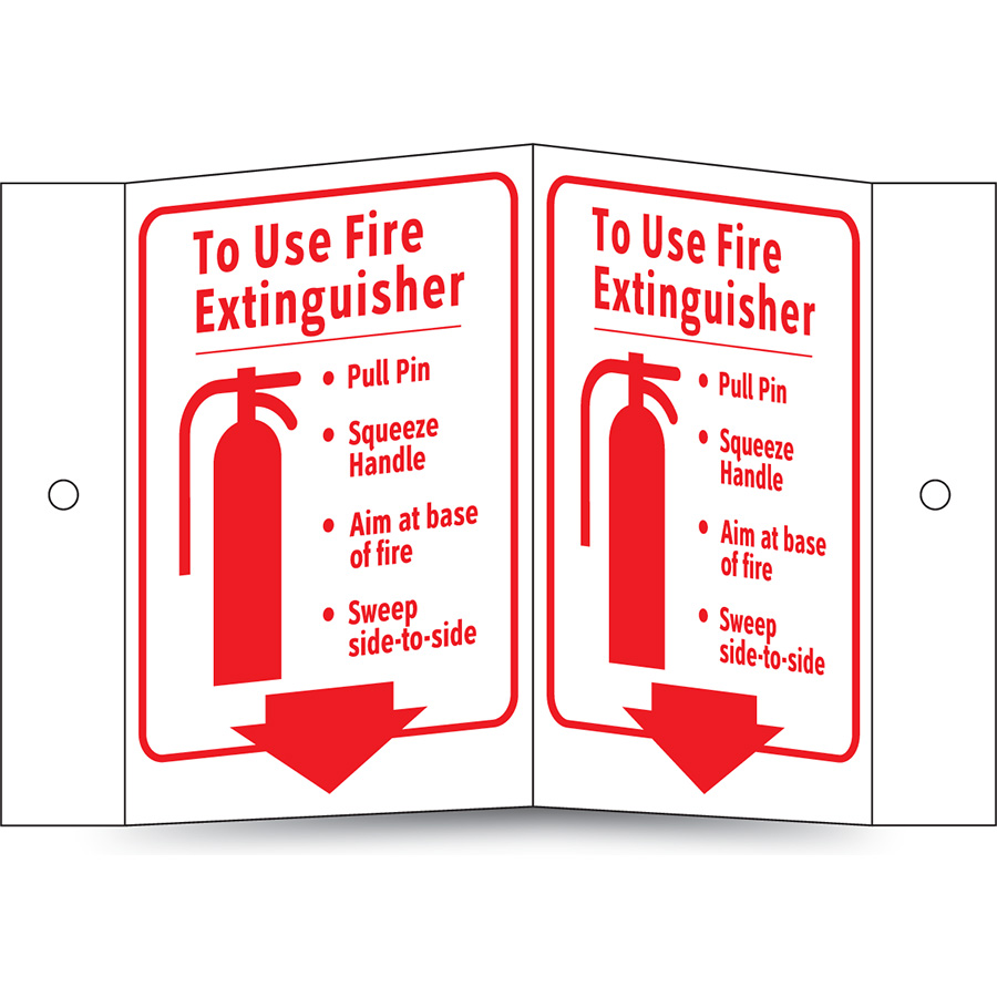 Glow in the Dark To Use Fire Extingusiher Projecting Sign