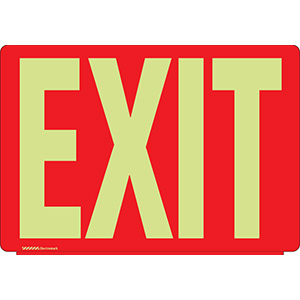 White on Red Glow in the Dark Exit Sign