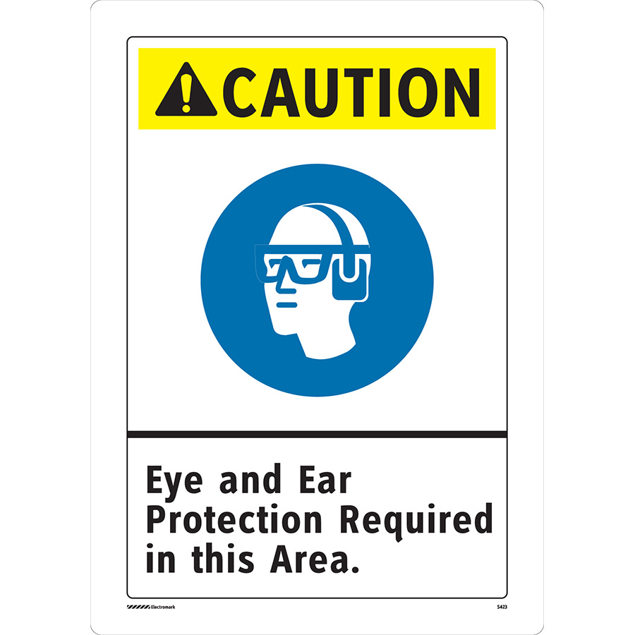 ANSI Caution Eye and Ear Protection Required Sign