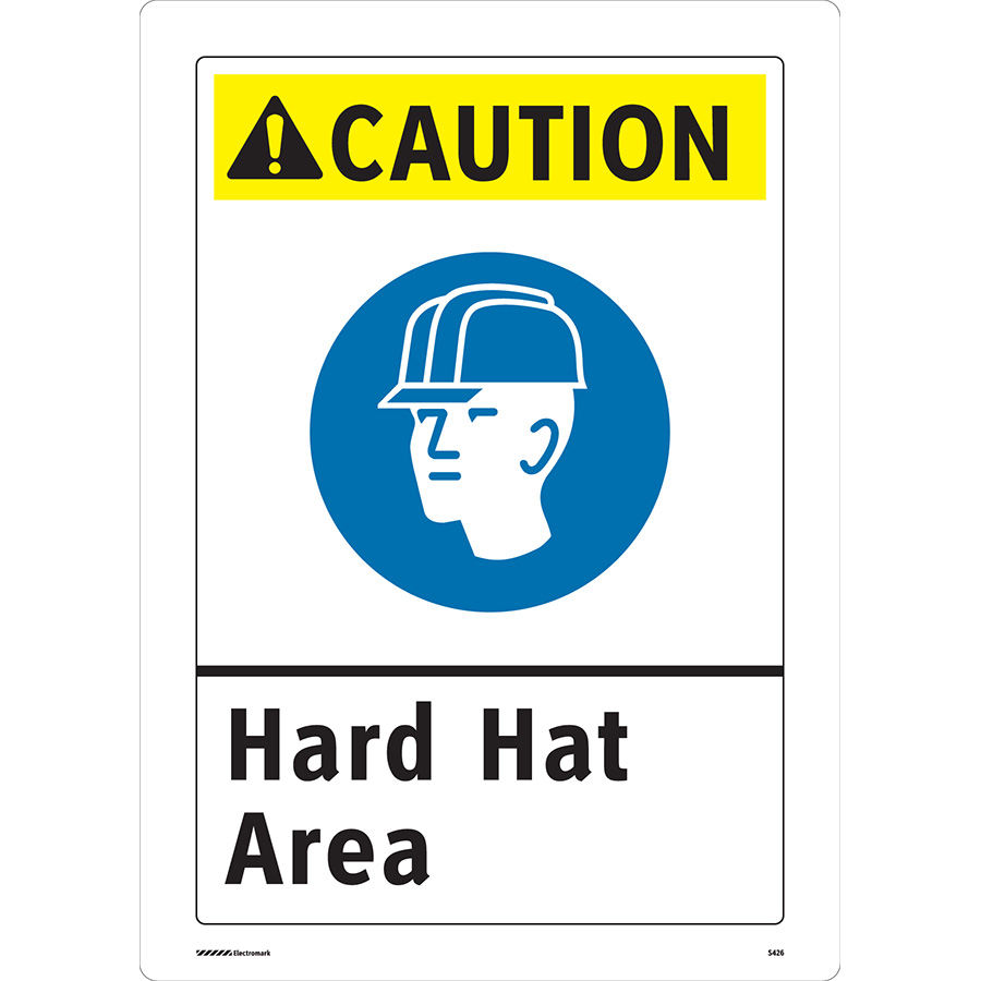 ANSI Caution Hard Hat Area Sign