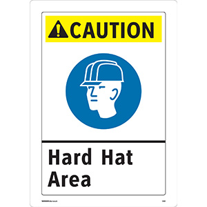 ANSI Caution Hard Hat Area Sign