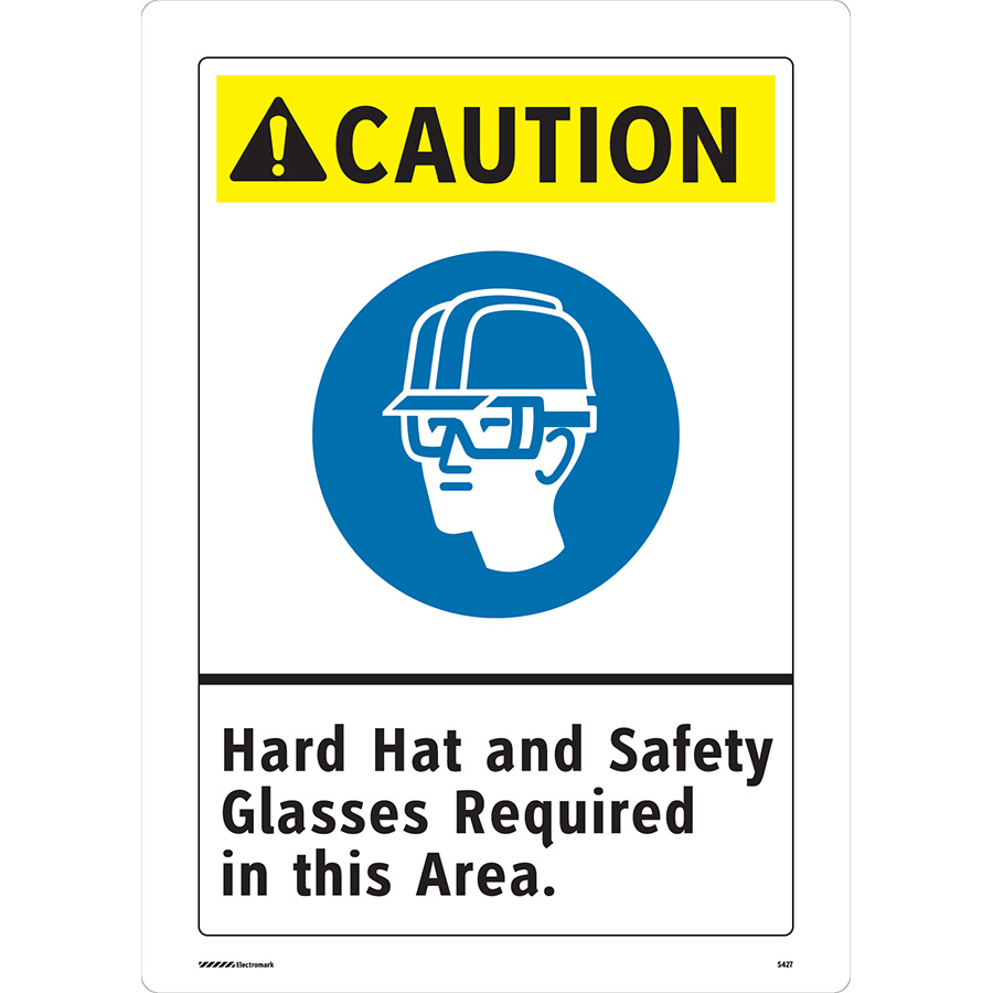 ANSI Caution Hard Hat and Safety Glasses Required Sign