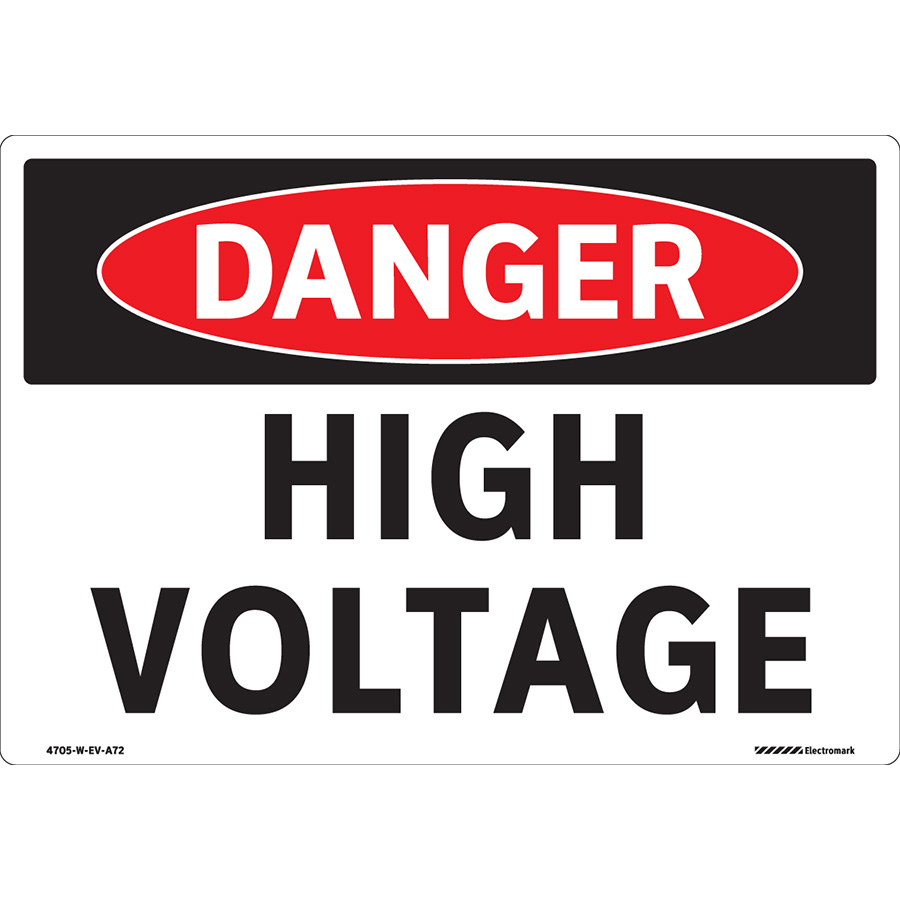 Curved  OSHA Danger Curved High Voltage Pole Sign