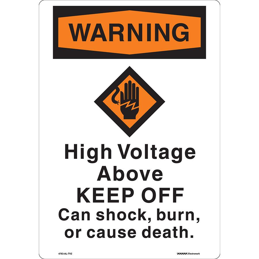 Curved OSHA Warning High Voltage Above Sign
