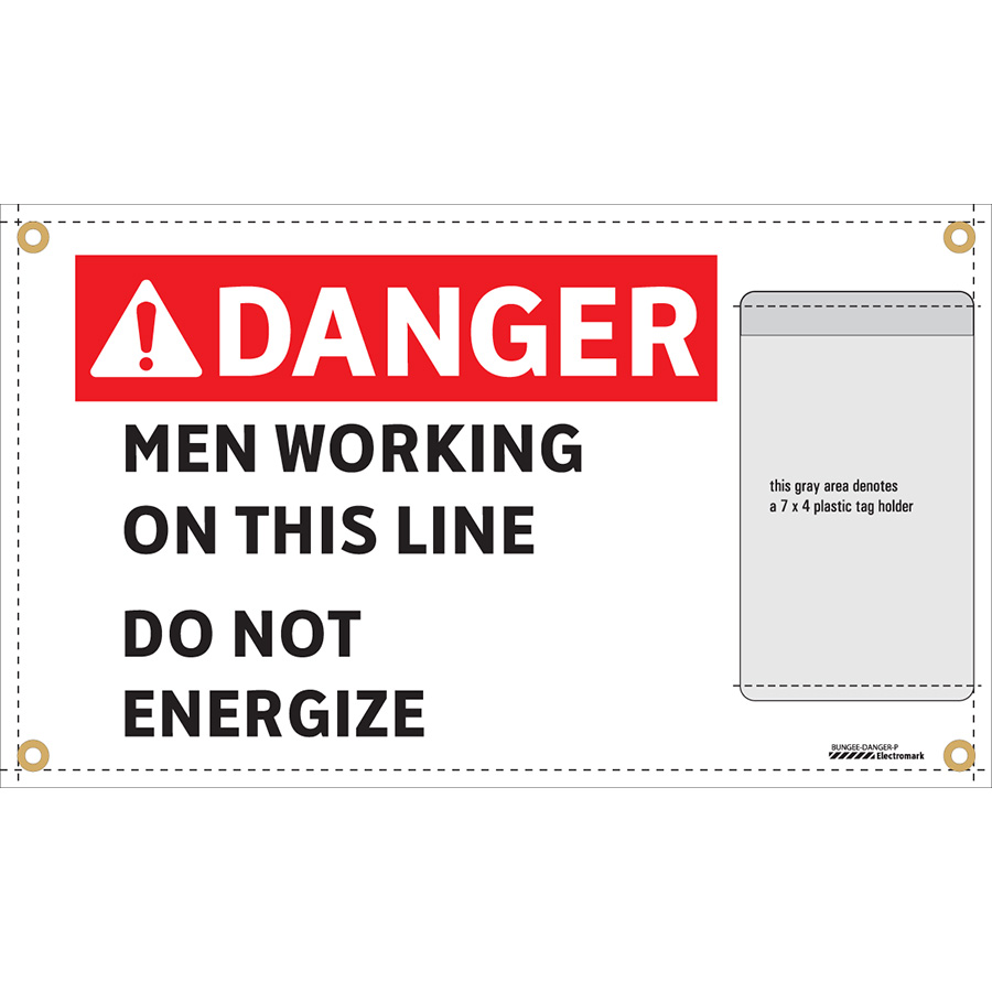 ANSI Danger Men Working On This Line Do Not Energize Wrap-Around Sign