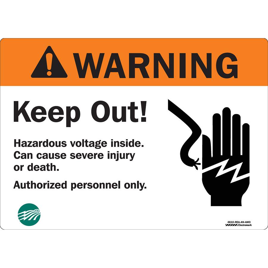 ANSI Warning Hazardous Voltage Sign