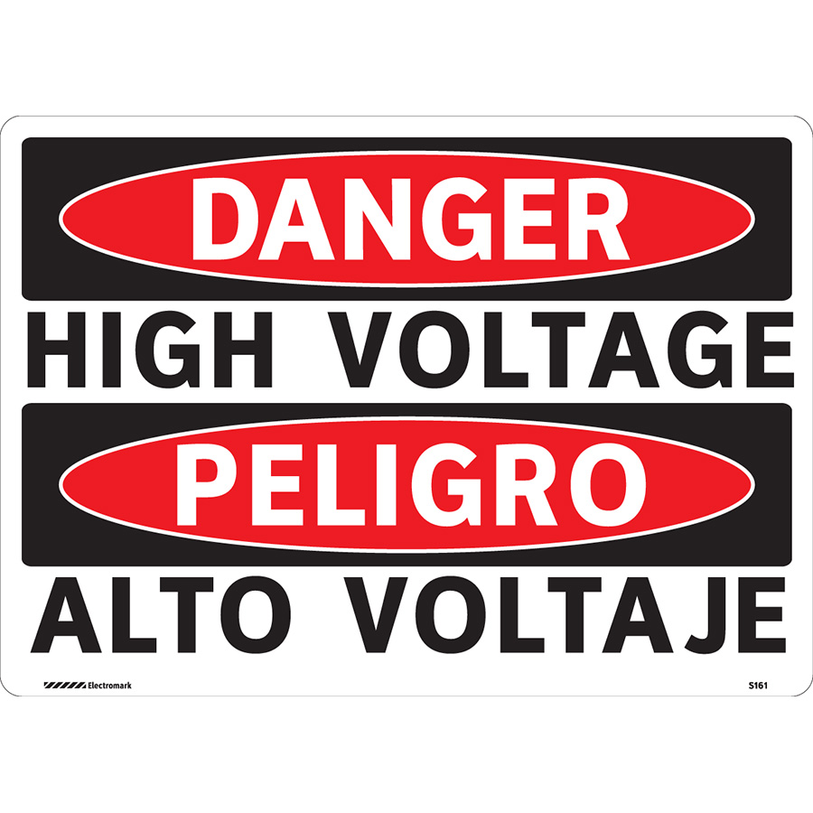 OSHA Bilingual Danger High Voltage Sign