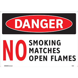OSHA Danger No Smoking Matches Open Flames Sign