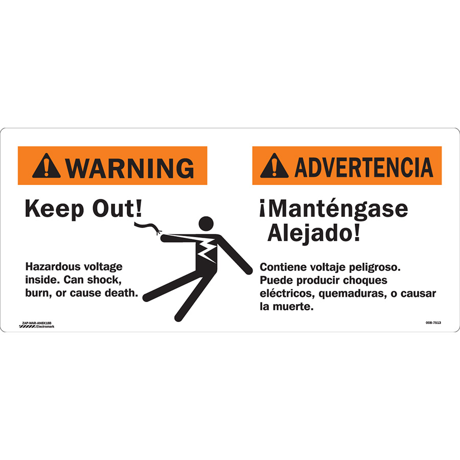 ANSI Bilingual Warning High Voltage Inside Keep Out Sign