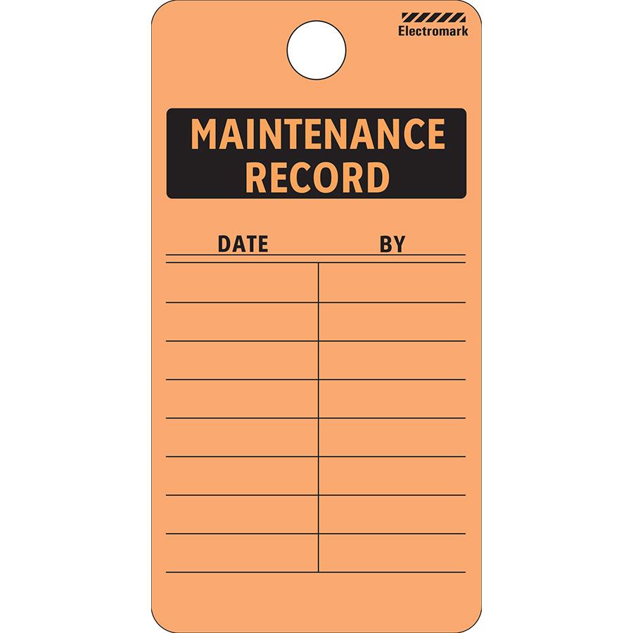 Maintenance Record Tag - Vinyl