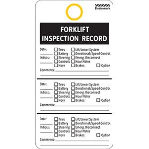 Forklift Inspection Tag