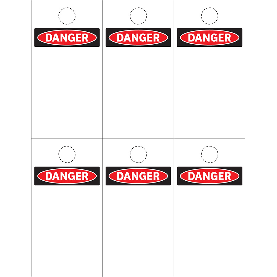 Blank OSHA Danger Header Print On Demand Tags - 25 Sheets