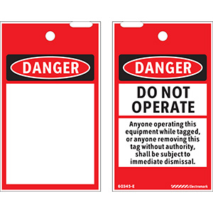 OSHA Danger Do Not Operate Shall be Subject to Immediate Dismissal Print On-Demand Tag - 200/roll