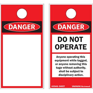OSHA Danger Do Not Operate Shall Be Subject to Disciplinary Action Print On-Demand Tag Sheets