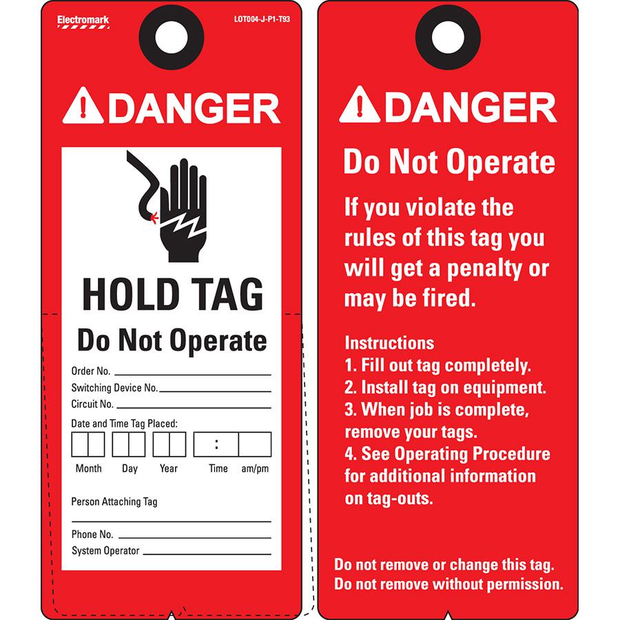 ANSI Danger Hold Tag