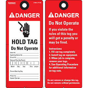 ANSI Danger Hold Tag