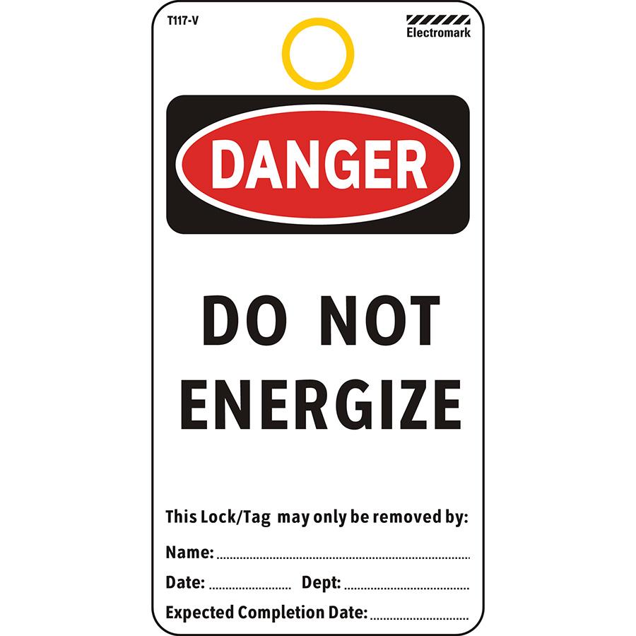 OSHA Danger Do Not Energize Tag - Vinyl Material