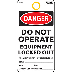 Danger Do Not Operate Equipment Locked Out Tag - Vinyl